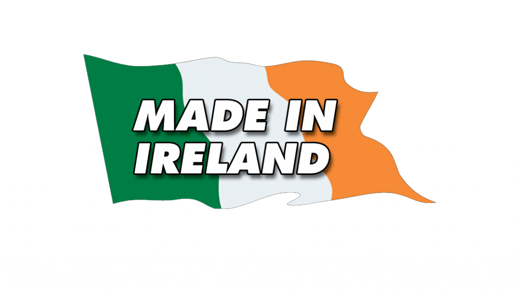 """a flag with """"made in ireland"""" written on it"""