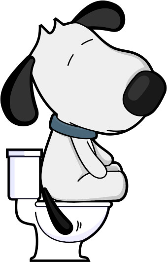 cartoon dog sitting on toilet