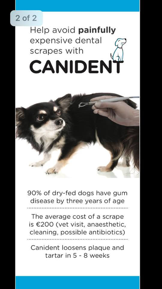 A poster showing a dog cowering away from a dentist, canident reduces gum disease in dogs, reducing the need for that dentist