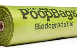 a single roll of biodegradable poo bags