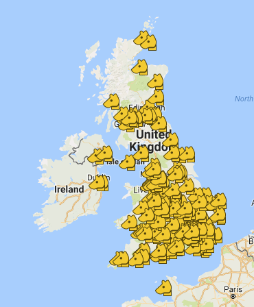 map of uk vets offering blood titres in dogs